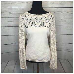 ST. JOHN Jacquard Knit Sweater Bronze Stud White